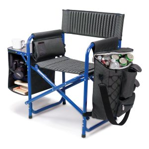Picnic Time Fusion Folding Chair Gray with Blue Frame