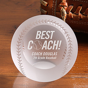 best coach personalized crystal baseball