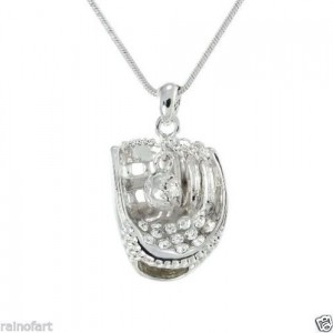 swarovski crystal baseball glove necklace