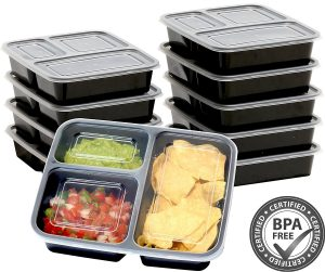 SimpleHouseware 3 Compartment Food Grade Meal Prep Storage Container Boxes