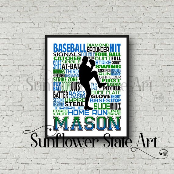 custom basebal typography art