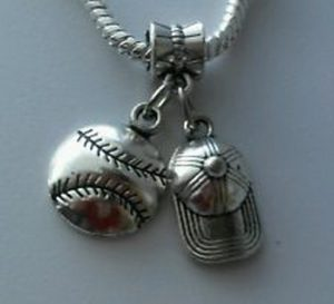 baseball and hat charm