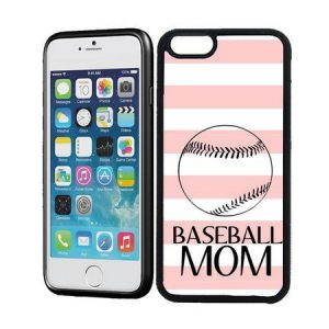 baseball mom baby pink strips iphone case