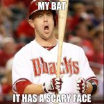 my bat it has a scary face with player with funny face meme