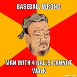 baseball wrong man with 4 balls cannot walk chinese meme