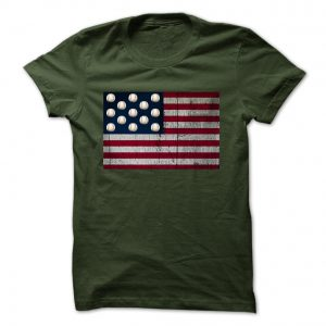 distressed american flag with baseballs forest tshirt