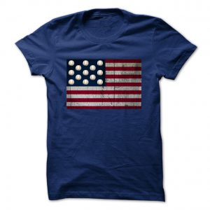 distressed american flag with baseballs navy blue tshirt