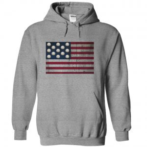 distressed american flag with baseballs sports gray hoodie
