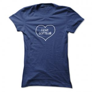 i love softball white heart & text final ladies navy blue mockup