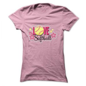 love softball with stars tshirt