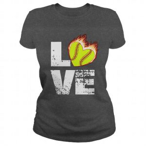 love softball flame heart
