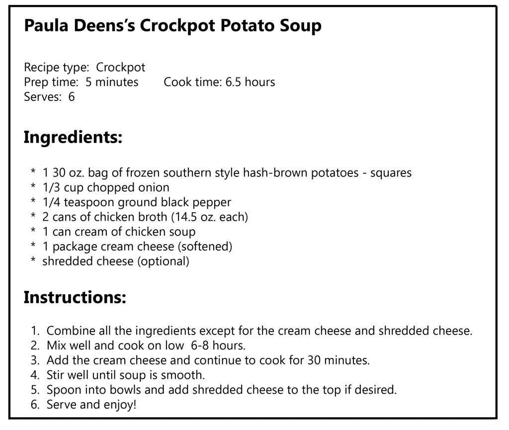 paula deens crockpot potato soup recipe with border