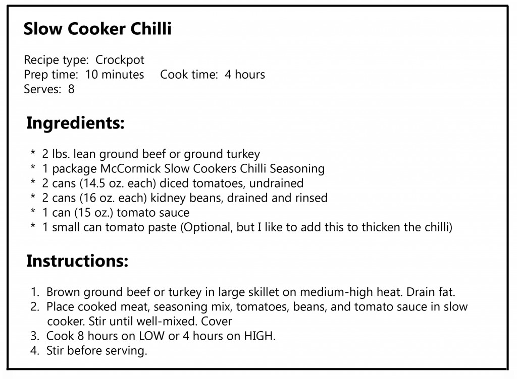 slow cooker chilli recipe