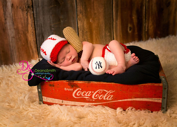 Baseball Hat and Diaper Cover, Newborn Photo Prop, Sports Set