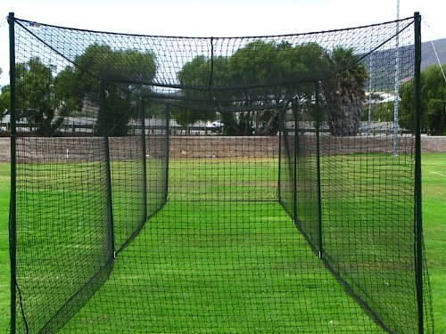 FORTRESS 55' Ultimate Baseball Batting Cage [Net, Poles & L Screen Package] - #42 Heavy Duty Net with Steel Uprights