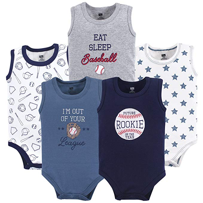 Hudson Baby 5 Pack Sleeveless Cotton Bodysuits