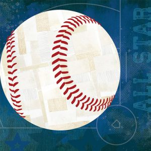 GreenBox Art 'Baseball All Star' by Vicky Barone Graphic Art on Canvas in Blue