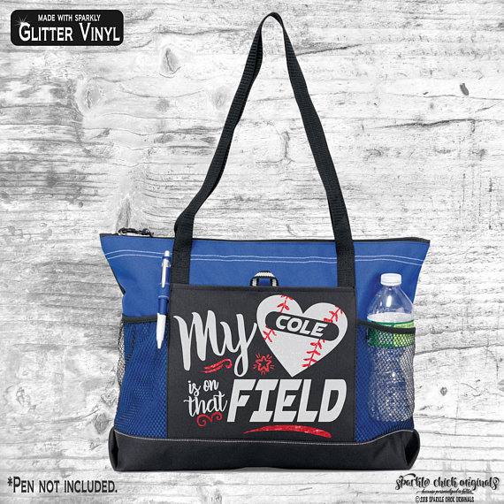 personalized baseball mom tote bag blue