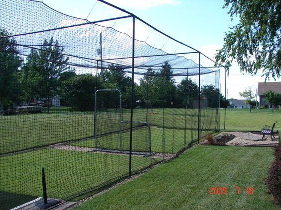 batting cage in big yard