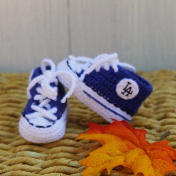 crocheted baby dodger booties