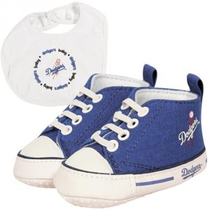 dodgers baby shoes and bib