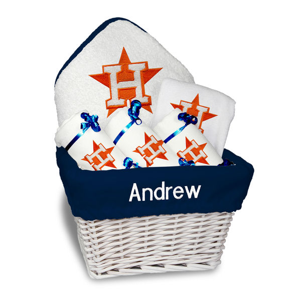 Baseball baby items newborn infant houston astros white personalized medium gift basket negle Choice Image