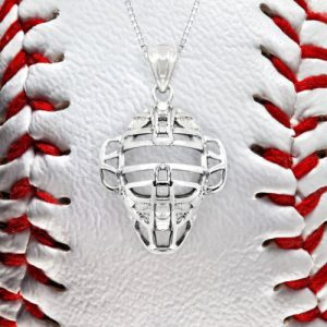 Sterling Silver Baseball Necklace Catcher Mask Chain Baseball Pendant Charm MLB