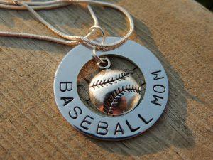baseball mom pendant necklace