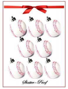 2016 baseball softball christmas holiday sport ornaments with hangers 8 packshatterproof