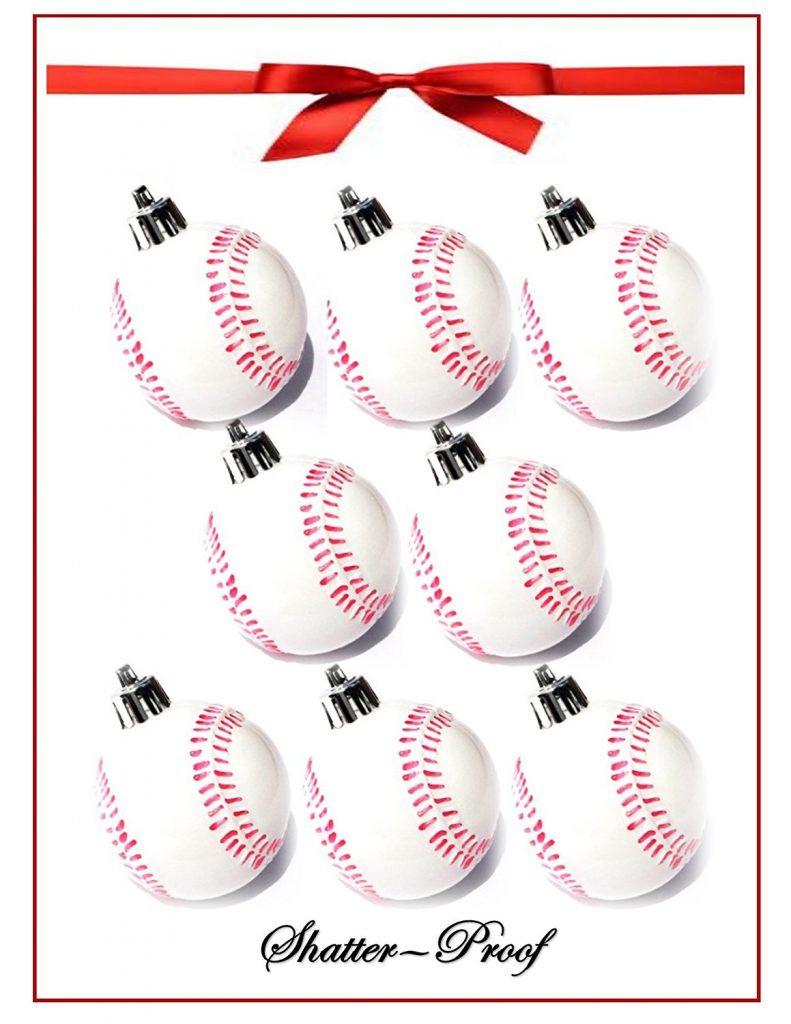 8 pack of baseball ornaments