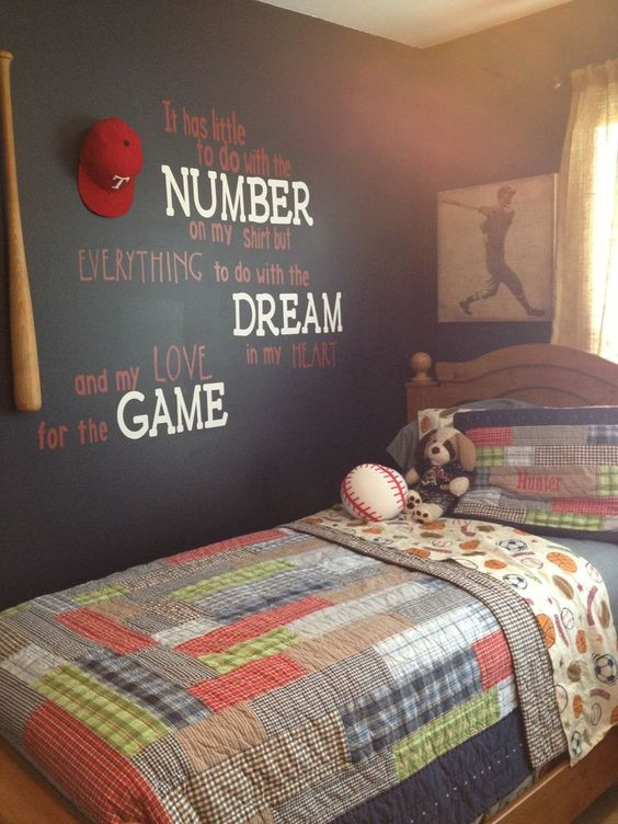 baseball bedroom wall quote painting  Baseball Themed Bedroom Ideas. Baseball Bedroom. Home Design Ideas