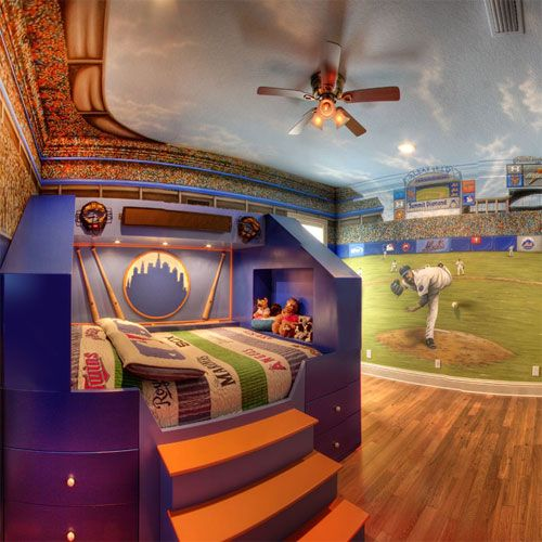 Baseball Bedroom With Pitcher Wall Painting