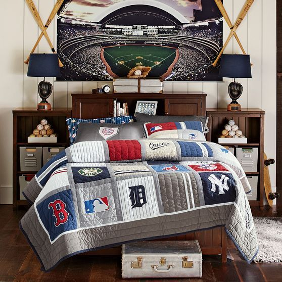 baseball bedroom with stadium art