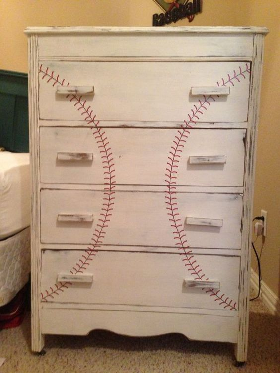 Baseball Dresser With Painted Threads