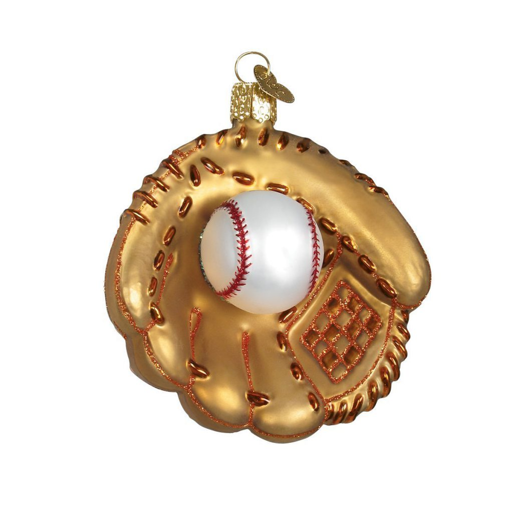 baseball mitt glass ornament