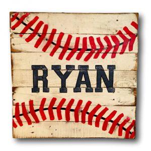 Baseball Sign - Vintage Wood Sports Sign - Boys Bedroom Decor