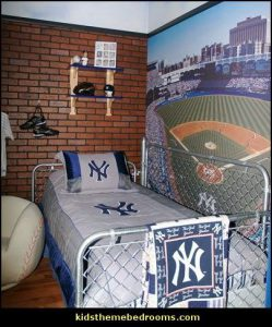 baseball-themed-bedroom-with-fences-for-headboard-and-footboard-with-stadium-painting