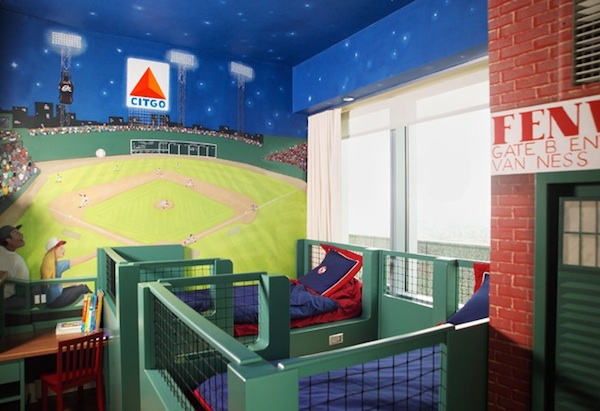 Baseball Themed Bedroom With Dugout Beds And Citgo
