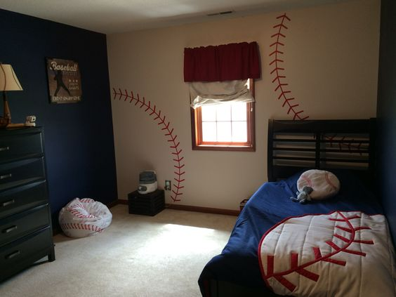 Baseball Themed Bedroom With Threads Painted On