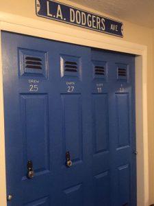 Blue Dodgers Locker Door Closet With Sign