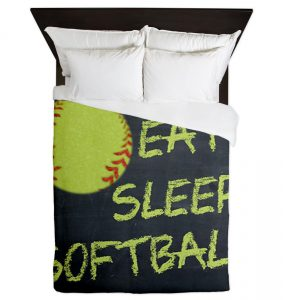Eat Sleep Softball Queen Duvet Cover