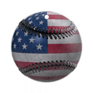 flag baseball ornament