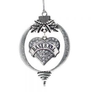 inspired silver heart baseball ornament