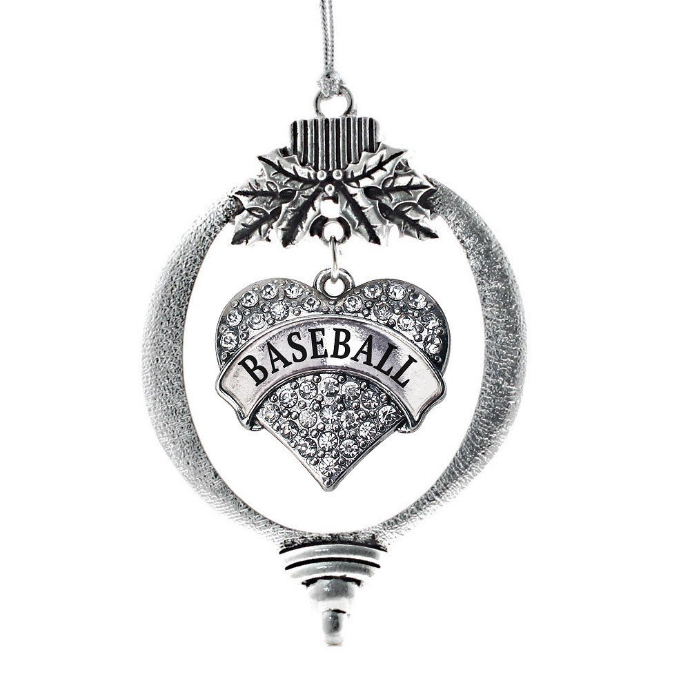 inspired silver heart baseball ornament