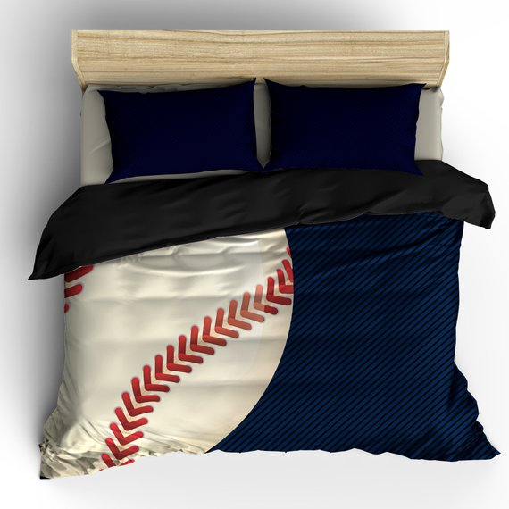 navy and black baseball themed bedding