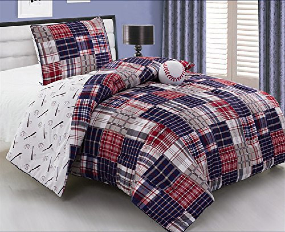 3 Piece Baseball Sports Theme Plaid Red, White, and Blue Comforter Set Twin Size Bedding