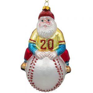 santa claus baseball player ornament