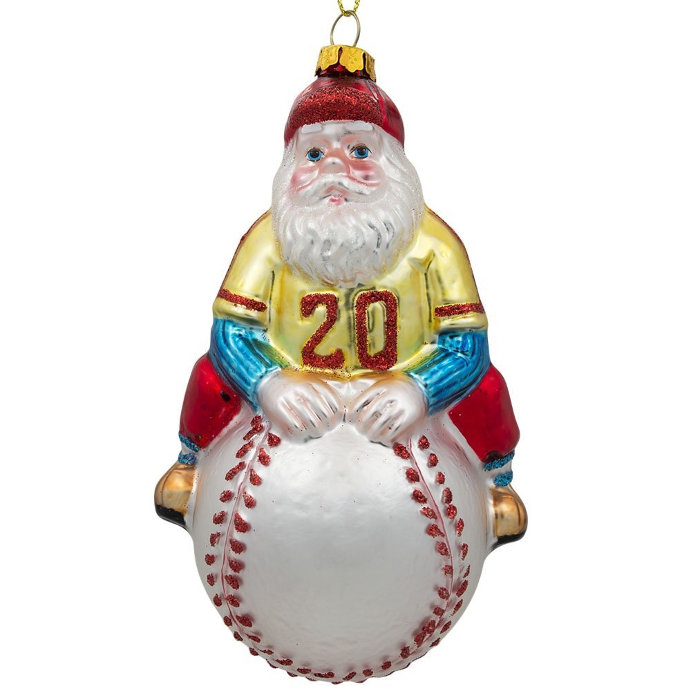 santa claus baseball player ornament