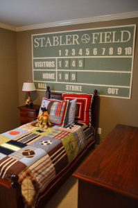 ... Baseball Themed Bedroom With Scoreboard Sign Over Bed ...