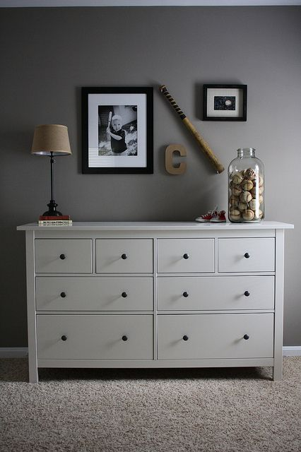 Classic Dresser With Baseball Photo Vase Art